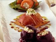 Boursin Cheese Trilogy (Salmon Canelone, Prosciutto Ravioli and Baked Stuffed Figs)
