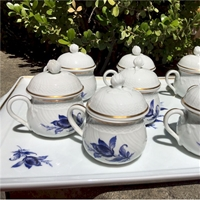 Ginori Blue and White Pot de Creme Set
