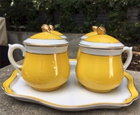 Shafford Chrome Yellow Pot de Creme Set