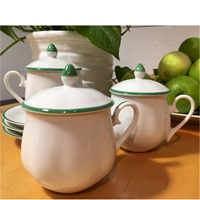 green trim pots de creme set 12 w saucers